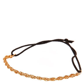 Gold Tone Rope Chain & Black Stretch Bracelet,