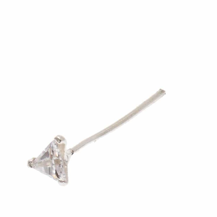 Sterling Silver Cubic Zirconia Triangle Nose Stud,