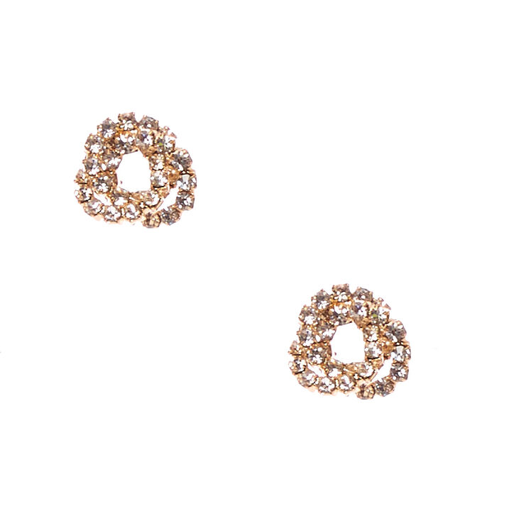 Gold Tone Faux Crystal Lined Knot Stud Earrings,