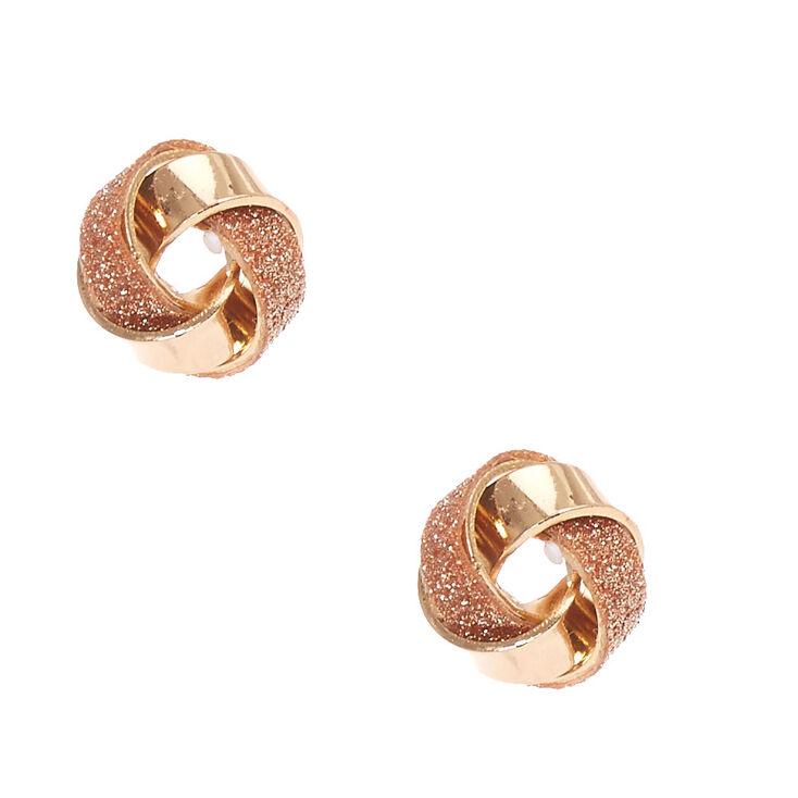 Rose Gold Toned Glitter Knot Stud Earring,