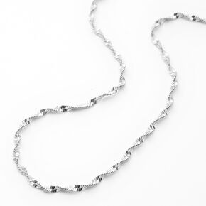 Silver Twisted Diamond Cut Chain Necklace,