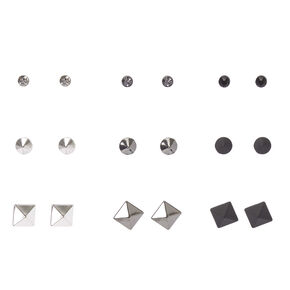 Black & Silver Pointed Geometric Studs,