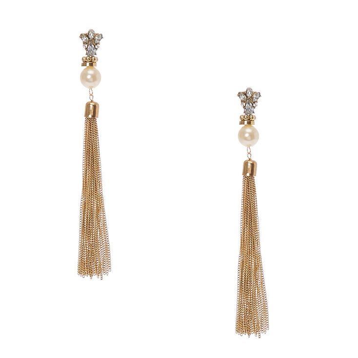 Crystal Cer Faux White Pearl Gold Chain Tel Drop Earrings