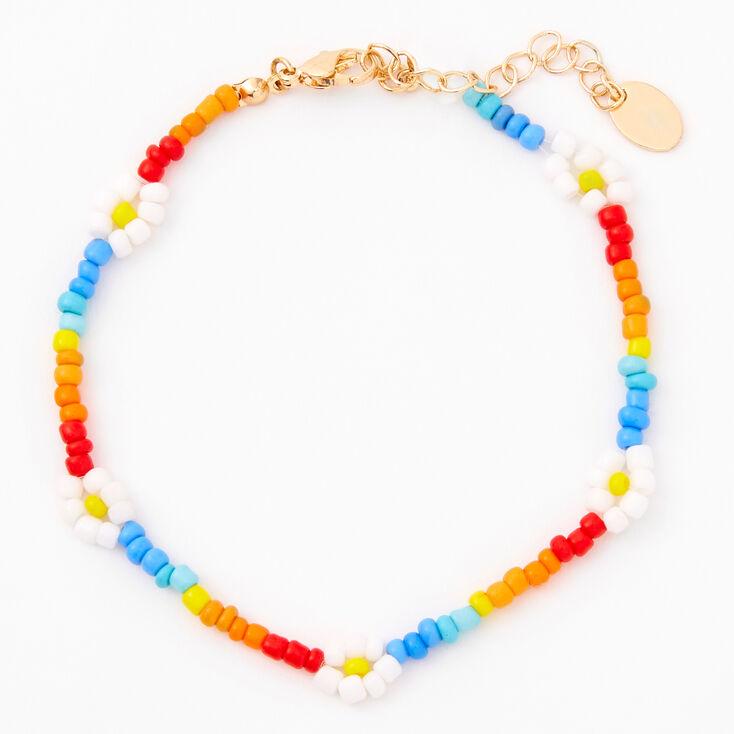 Rainbow Beaded Daisy Anklet,