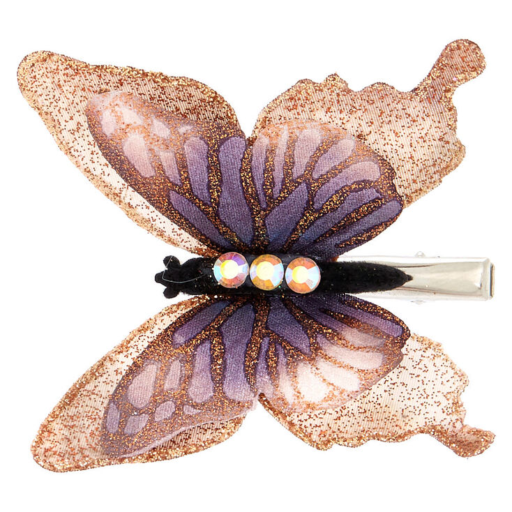 glitter butterfly hair clip   rose gold icing us