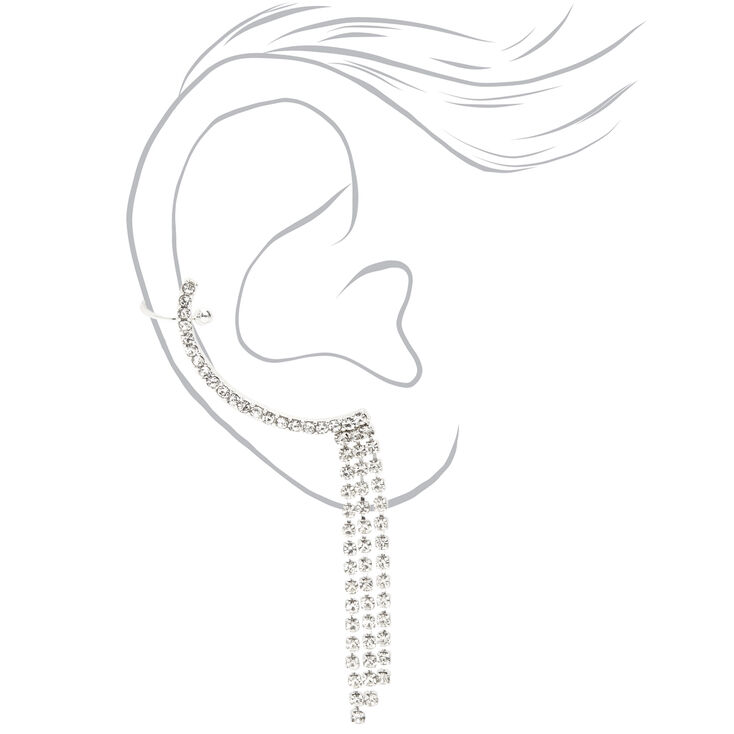 Silver Embellished Ear Cuff Connector Earring,