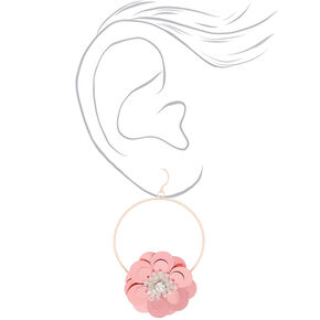 "Rose Gold 2.5"" Sequin Flower Drop Earrings - Pink,"