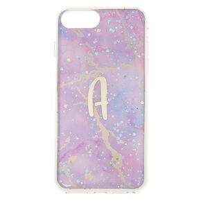 Lilac Marble Glitter Initial Phone Case - A,