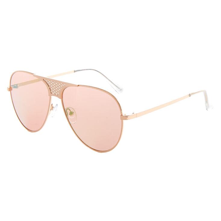 Mesh Bridge Aviator Sunglasses - Rose Gold,