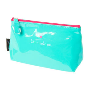 Small Kiss & Makeup Bright Green Cosmetic Bag,