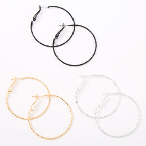 Mixed Metal 40MM Textured Hoop Earrings - 3 Pack,