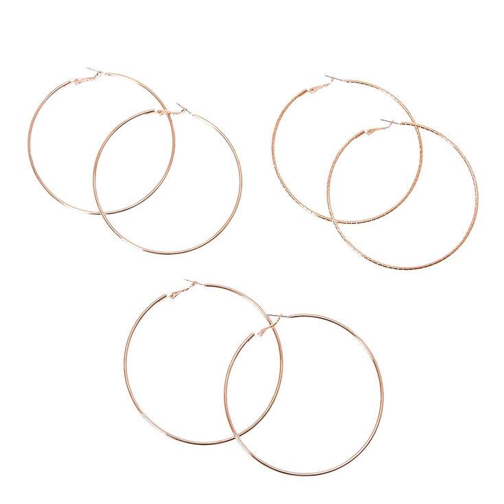 Skinny Rose Gold Tone Texture Hoop Earrings,