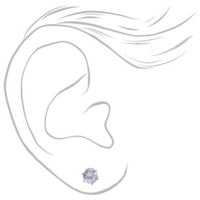 Silver Cubic Zirconia Round Stud Earrings  - 3 Pack,