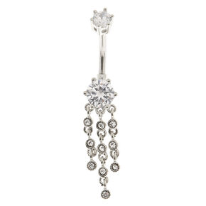 Cubic Zirconia Silver Drapes Belly Ring,