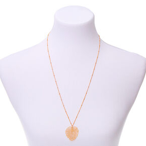 Gold Palm Leaf Long Pendant Necklace,