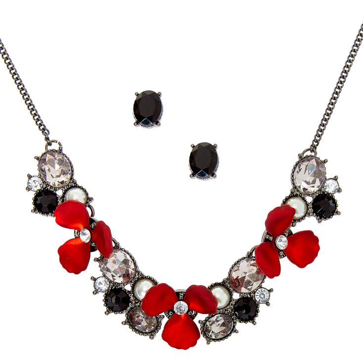 Hematite Floral Glam Jewelry Set - Red, 2 Pack,