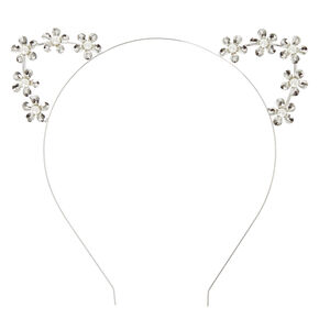 Silver Pearl Studded Cat Ear Headband,