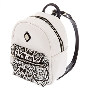Snake Print Mini Backpack - White,