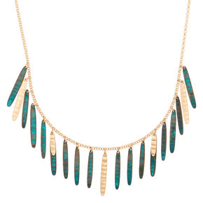Gold Patina Stick Statement Necklace,