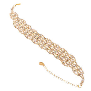 Gold-Tone Crystal Choker Necklace,