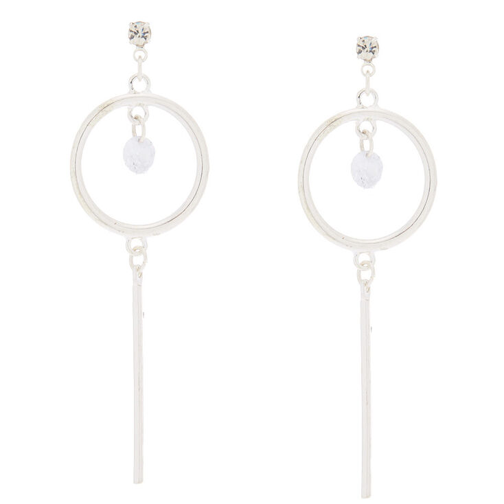 "Cubic Zirconia 2.5"" Circle Drop Earrings,"
