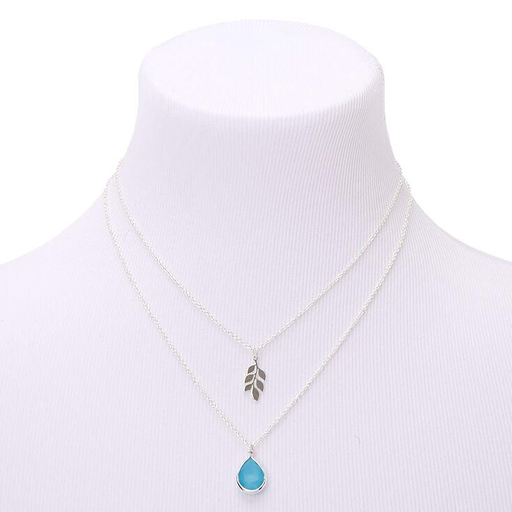 Silver Leaf Teardrop Stone Multi Strand Pendant Necklace - Turquoise,