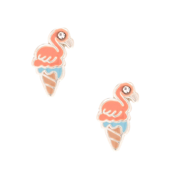 Sterling Silver Flamingo Cone Earrings,
