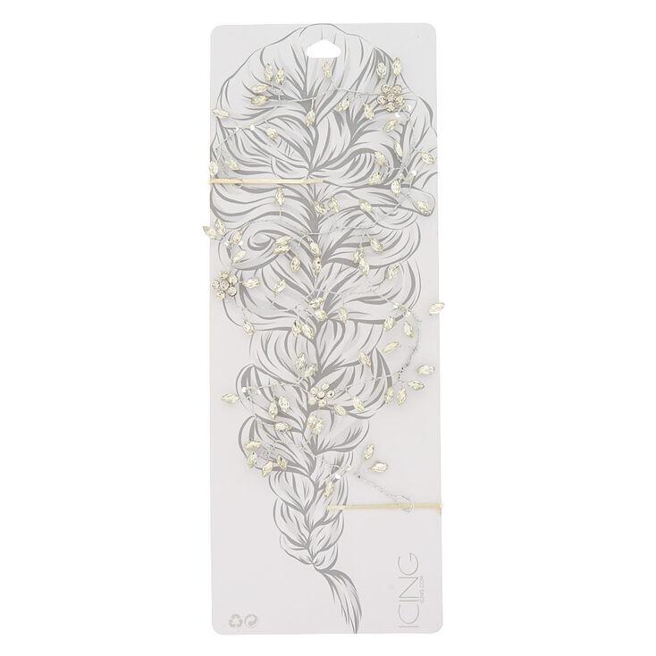 Silver Glass Rhinestone Leaf Hair Vine,