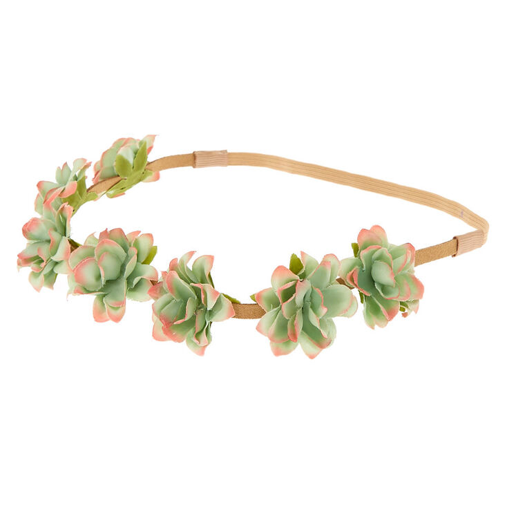 Faux Succulent Headwrap - Green,