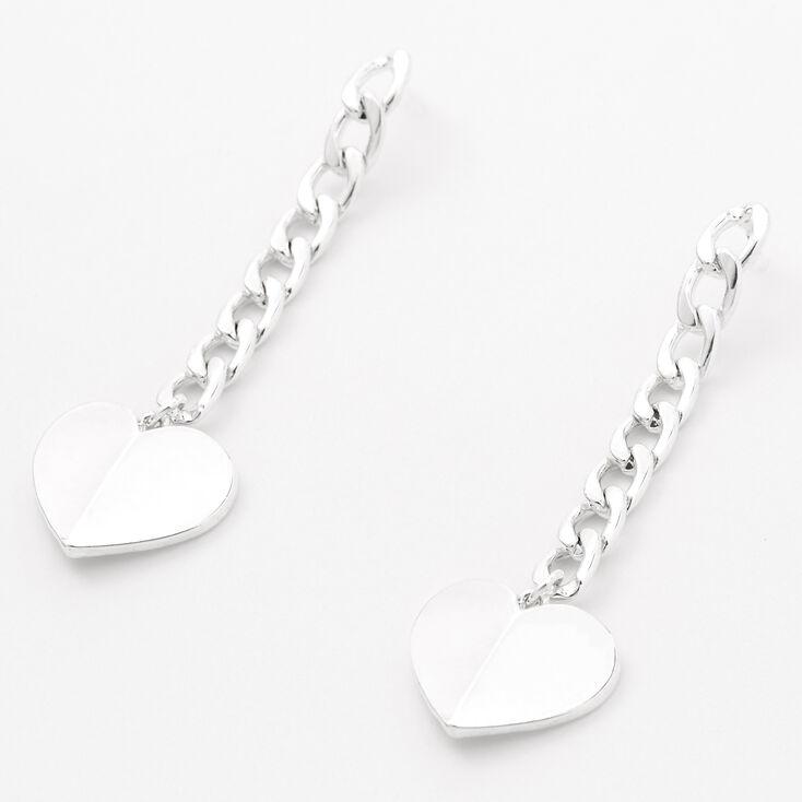 "Silver 2"" Curb Chain Heart Drop Earrings,"