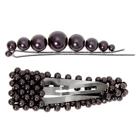 Hematite Pearl Hair Pin & Snap Clip - Black, 2 Pack,