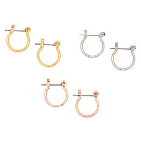Mixed Metal 10MM Hinge Hoop Earrings - 3 Pack,