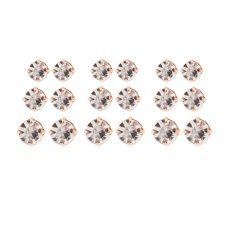 Graduated Rose Gold Crystal Stud Earrings Set,