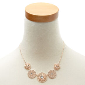 Rose Gold Floral Filigree Statement Necklace,