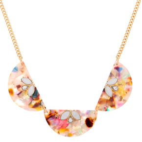 Resin Painted Fan Statement Necklace,