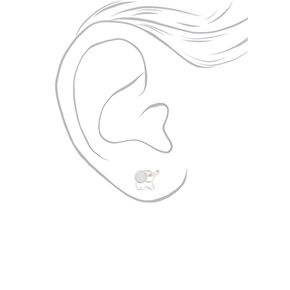 Silver & Crystal Elephant Stud Earrings - White,
