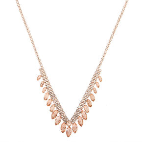 Rose Gold Rhinestone Feather Statement Necklace,