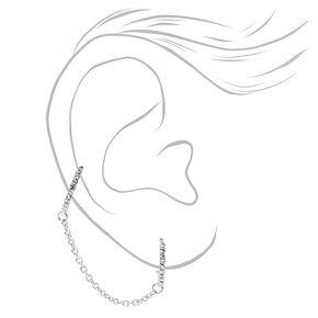 Silver Embellished Connector Chain Huggie Hoop Earrings,
