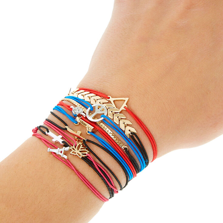 Red Double Stretch Bracelet with Triangle Charm,