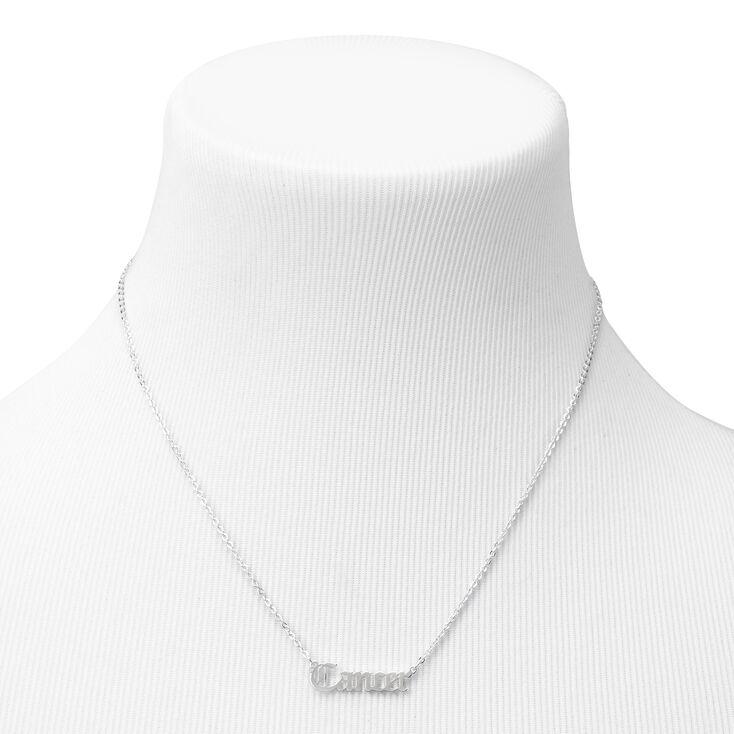 Silver Gothic Zodiac Pendant Necklace - Cancer,