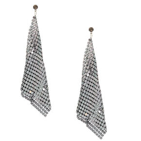 "Hematite 4"" Mesh Drop Earrings,"