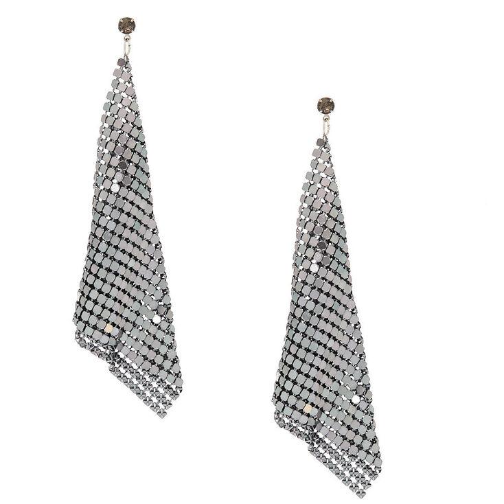 "Hematite 4"" Mesh Drop Earrings,"