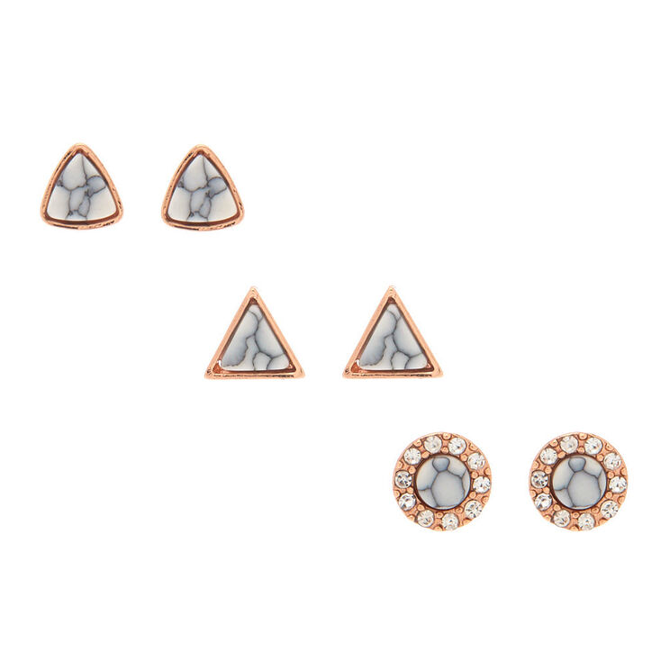 18kt Rose Gold Plated Marble Stud Earrings - 3 Pack,