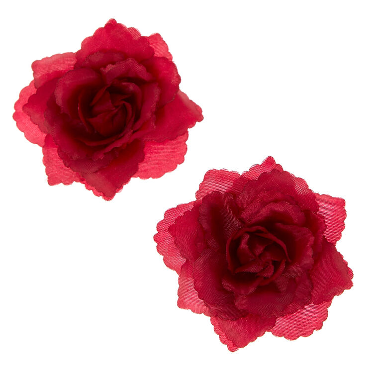 Burgundy Rose Hair Barrettes,