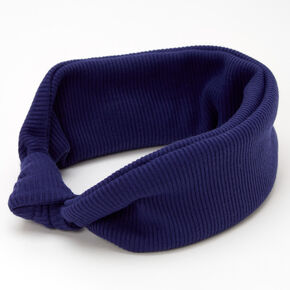 Ribbed Knotted Headwrap - Navy,