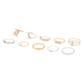Mixed Metal Stone Rings - 10 Pack,
