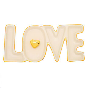 Love Ceramic Tray - White,
