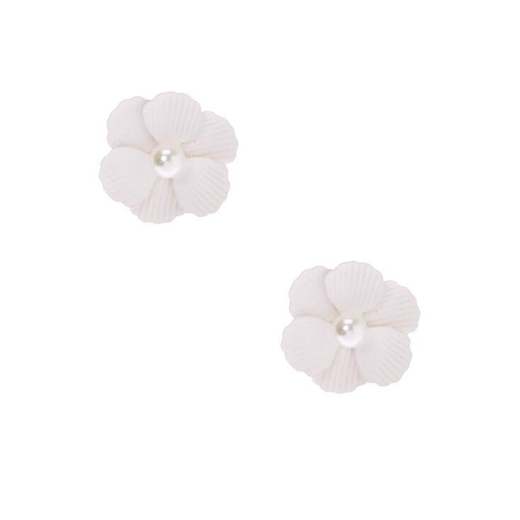 Pearl Flower Stud Earrings - White,