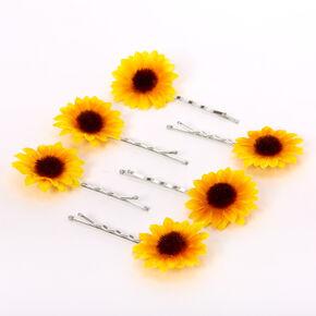 Sunflower Hair Pins - Yellow, 6 Pack,