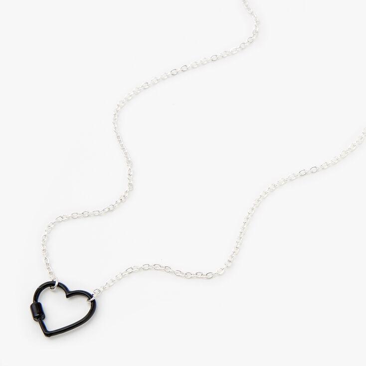 Silver Carabiner Heart Pendant Necklace - Black,